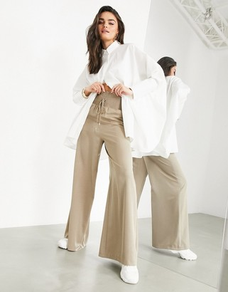ASOS EDITION wide leg shirred waist pants in sand