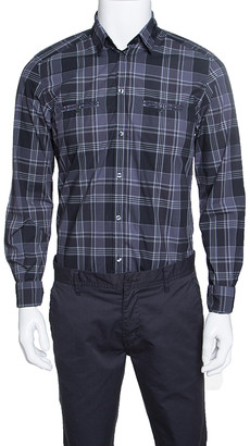 Dolce & Gabbana Gold Grey Checked Cotton Long Sleeve Button Front Shirt L