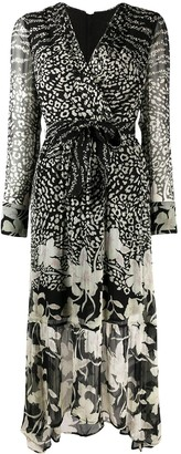 AllSaints Florence Tempo leopard and floral print midi dress
