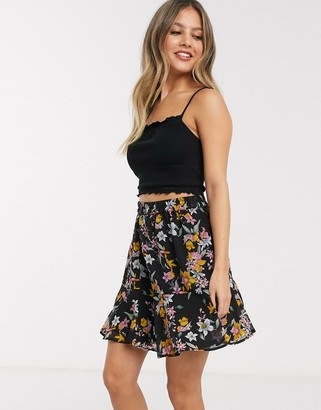 Pieces Nanna floral skater skirt