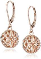 Amazon Collection 14k Rose Gold Plated Sterling Silver Filigree Ball Leverback Earrings