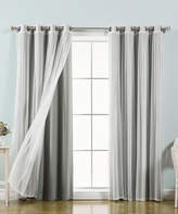 Best Home Fashion Gray & Sheer Tulle Blackout Curtain Panel - Set of Four