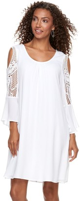 Nina Leonard Women's Crochet Cold-Shoulder Swing Dress