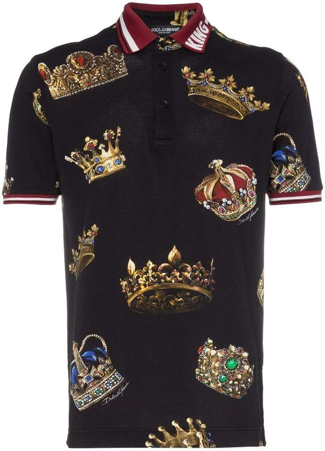 Dolce & Gabbana crown print cotton polo shirt