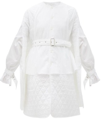 Noir Kei Ninomiya Quilted-panel Cotton Shirt Dress - White