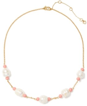 """Kate Spade Gold-Tone Freshwater Pearl (11x14mm) Collar Necklace, 17"""" + 3"""" extender"""