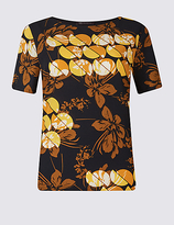 M&S Collection Printed Round Neck Short Sleeve T-Shirt