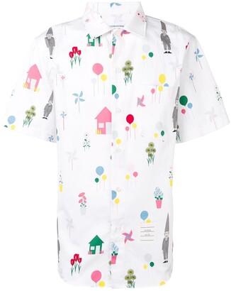 Thom Browne Gnome Print Polo Collar Shirt