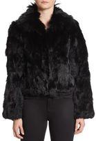Adrienne Landau Oversized Collar Rabbit & Fox Fur Jacket