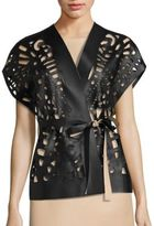 Josie Natori Short Cut-Out Faux Leather Vest
