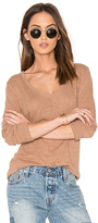 Bobi Cotton Slub V Neck Long Sleeve Tee in Taupe. - size S (also in XS)