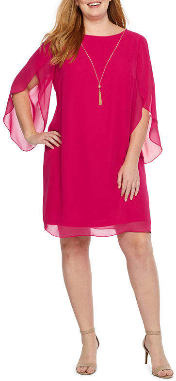 3-4 Split Sleeve Shift Dress-Plus