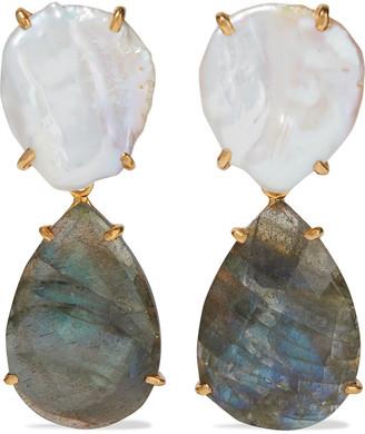 Bounkit Convertible 14-karat Gold-plated, Freshwater Pearl And Labradorite Earrings