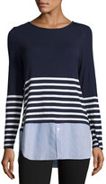 Neiman Marcus Mixed-Media Striped Tee, Blue Pattern
