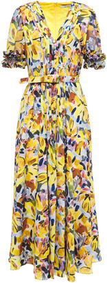 Badgley Mischka Pleated Floral-print Georgette And Crepe De Chine Midi Dress