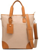 Neyuh Leather The City Tote - Cream Canvas On Tan