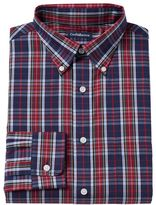 Croft & Barrow Men's Fitted Red Plaid Button-Down Collar Dress Shirt