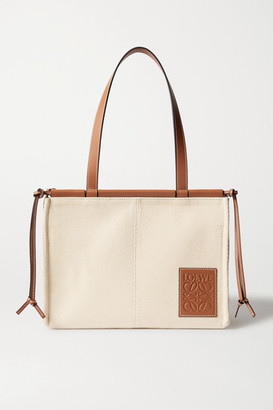 Loewe Cushion Small Leather-trimmed Canvas Tote - Tan