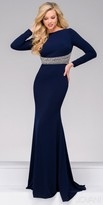 Jovani Fitted Long Sleeve Embellished Keyhole Evening Dress