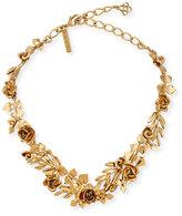 Oscar de la Renta Golden Rose & Leaf Vine Necklace