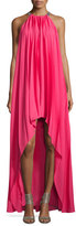 Halston Sleeveless Pleated Chiffon Gown, Begonia