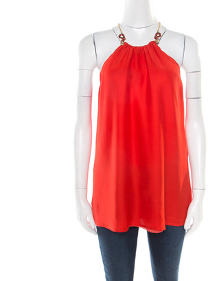 Class by Roberto Cavalli Red Silk Serpentine Detail Halter Top L