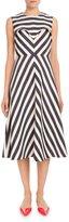 DELPOZO Sleeveless Striped A-line Tea-Length Cocktail Dress