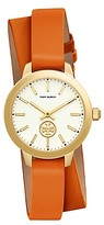 Tory Burch Collins Watch Double-Wrap, Orange Leather/Stainless Steel, 32mm