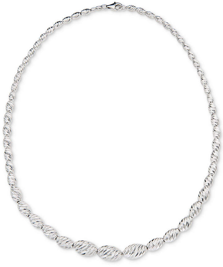 """Giani Bernini Beaded Link 18"""" Graduated Collar Necklace in Sterling Silver, Created for Macy's"""