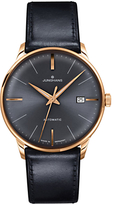 Junghans 027/7513.00 Meister Classic Leather Strap Watch, Black/grey