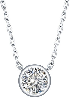 Lab Grown Diamond Solitaire Necklace, 1/4 Ctw 10K Solid Gold by Smiling Rocks