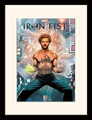 Iron Fist Comic Mounted and Framed Print, Multi-Colour, 30 x 40 cm