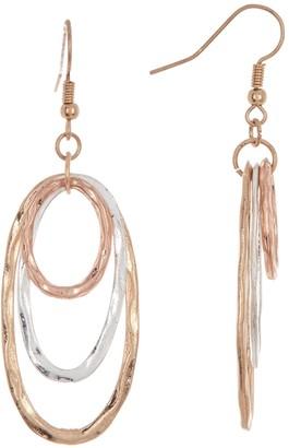 Area Stars Tri-Tone Tiered Oval Earrings