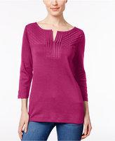 Karen Scott Cotton Pleated Split-Neck Top, Only at Macy's