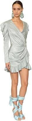 Raisa & Vanessa Embellished Shiny Jersey Wrapped Dress