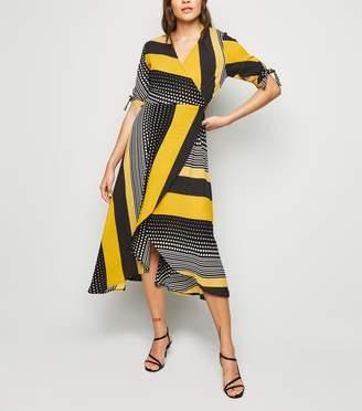 New Look AX Paris Mixed Print Wrap Midi Dress