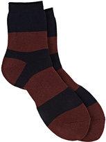 Yohji Yamamoto Men's Striped French-Terry-Knit Crew Socks-NAVY