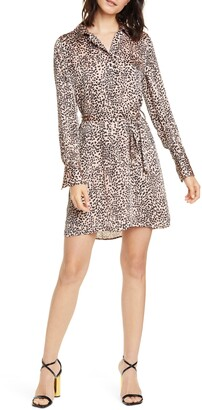 Equipment Leopard Print Crepe Shirt Dress