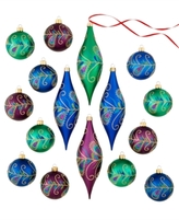 Holiday Lane Set Of 16 Shatterproof Peacock Feather Ball & Drop Ornaments, Created for Macy's