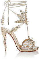 Christian Louboutin Women's Venenana Leather Ankle-Tie Sandals-Gold
