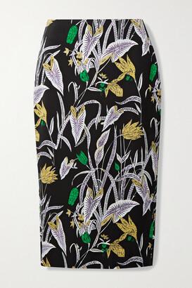 DIANE VON FURSTENBERG - Kara Printed Crepe Midi Skirt - Black