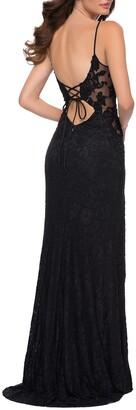 La Femme Stretch Lace Gown w/ Lace-Up Back