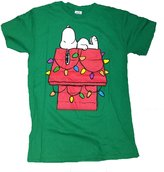 Peanuts Snoopy Christmas Lights Dog House Graphic T-Shirt