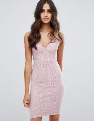 Girls On Film bodycon dress in mesh texture-Pink