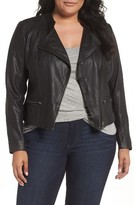 Sejour Plus Size Women's Leather Moto Jacket