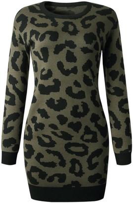 Goodnight Macaroon 'Denise' Leopard Print Long Sweater Dress (4 colors)