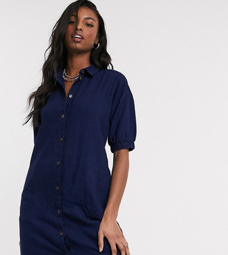 Noisy May Tall denim shirt dress with puff sleeves in indigo wash