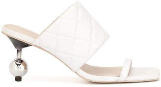 Quilted-Effect Embellished-Heel Mules