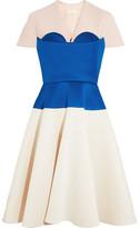 DELPOZO Cape-effect Color-block Neoprene Dress - Royal blue