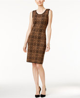 Charter Club Petite Printed Jacquard Sheath Dress, Only at Macy's